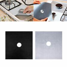 4Pcs Reusable Sliver/Black Aluminum Foil Gas Stove Burner Cover Protect Cook Mat