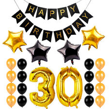 30Th Birthday Decorations Party Supplies For 30 Gold Him/Her Sash Happy Banner