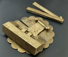 More details for brass chinese lock with padlock for trunk or chest with original key
