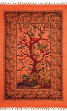 Handmade Cotton Tree of Life Tapestry Tablecloth Wall Hang 85x55 inches Orange