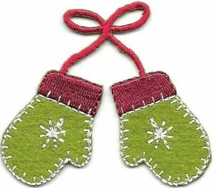 Winter Green Red Christmas Holiday Themed Mittens Embroidery Patch