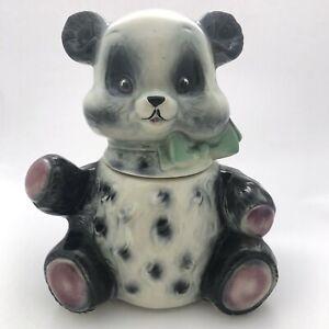 Vintage 50s Brush USA Pottery Cookie Jar Panda Bear Kitschy Kitchen Decor Animal