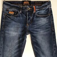 MENS SUPERDRY Standard Skinny Faded Ripped Blue JEANS SIZE W28 L32 (207)