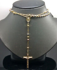 New 10K Multi-Tone Gold Rosary For Men/Women A12B7 Beads With Diamond Cuts, Rope