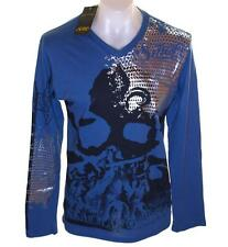 Bnwt Men's Smet Long Sleeve Foil Print T Shirt Christian Audigier XLarge V Neck