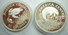 COSTA RICA Two Silver Proof Set 1974 Turtle & Manatee