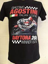"""Giacamo Agostini """"Daytona 200 Winner 1974"""" camiseta de la motocicleta XL negro"""