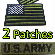 US ARMY + US Flag American Military Set USA Iron On Patch Embroidered Craft DIY