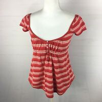 NEW Free People Women's Size XS Red Pink Cap Sleeve Knit Top Summer $78 . AB