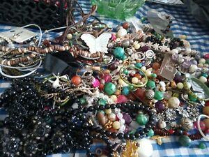 A Job Lot Broken Vintage & Modern Costume Jewellery Mixed