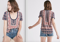 LUCKY BRAND WOMEN'S BORDER PRINT TEE: STYLE #7W83918 -- CHOOSE YOUR SIZE