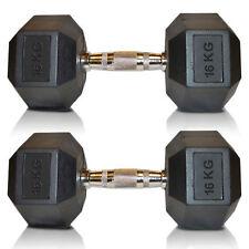 Sporteq Hex Dumbbells Rubber Encased Ergo Weights Sets Hexagonal Dumbbell Gym 2 ✭ 16 Kg (pair)