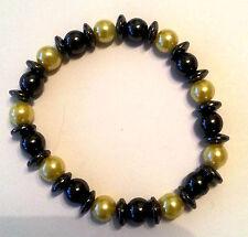 bisutería pulsera magnética Hematites perla de plástico color: Negro Amarillo #