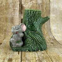 Cute Whimsical Gray Elephant By Green Tree Vase Love You FLAW Vintage 60s