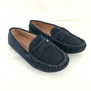 Earsoon Toddler Boys Loafers Slip On Faux Suede Navy Blue Size 30 US 12