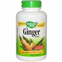 NATURE'S WAY GINGER ROOT SOOTHES DIGESTION PREMIUM HERBAL 180 CAPSULES 550mg