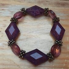 Lovely Retro Amethyst Purple Glass Look Bead Bracelet/Hippy Boho/Victoriana/Goth