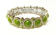 "& Cut Crystals Stretch Bracelet Green Lia Sophia ""Sparkler"" Silver Tone w/Resin"