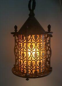 Antique After Sunset Lightolier Porch Entry Ceiling Light Fixture Tudor Gothic