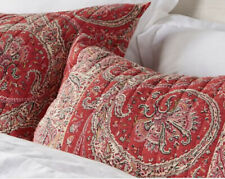 Pottery Barn Sweeny Standard Shams set of 2 red paisley quilted NEW NWT