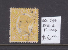 Qld: 4d Yellow Qv Die 1 Sg 244 F.Used