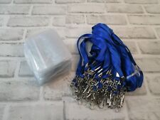 "50 Pack Horizontal Name Badge Holders 36"" Blue Lanyards Tag ID Card Holder"