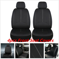 4Pcs PU Leather Black Car Seat Covers for Auto Front Seat w/ Organizer Kick Mat
