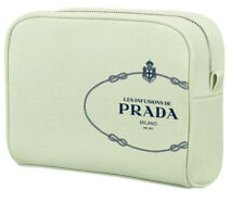 new Prada Milano Lime Green Canvas Toiletry Cosmetic travel toiletry bag