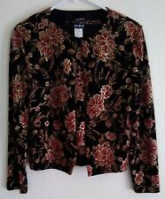 MSK Women's Black Gold Pink Floral Pattern 2-Pc Sweater Set S Small