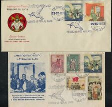 Laos 2 1973 Covers Dove Of Peace Postmarks to Celebrate Cease Fire 22.2.1973
