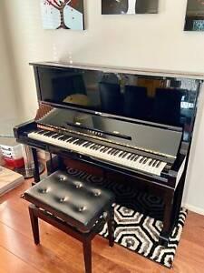Yamaha Black U3 Upright piano- with black stool, Condition ''Used''