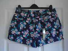 BNWT Navy with multi colour pastel floral cotton hot pants short shorts Size 12