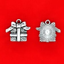 10 x Tibetan Silver Christmas Birthday Gift Box Present Charms Pendants Beads