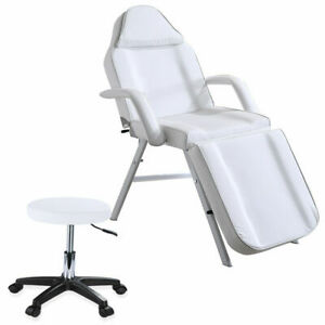 W/ Stool Beauty Salon Bed Tattoo Spa Treatment Massage Table Couch Chair White
