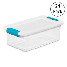 Sterilite 6-Quart Clear Stackable Latching Storage Box Container, 24 Pack | 1492