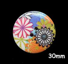 10 Large Wooden Round Flower Pattern Hippy Buttons 30mm, Sewing, Craft - BU1287