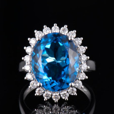 Christmas Sale Solid 14K White Gold Natural Blue Topaz Diamond Halo Ring Jewelry