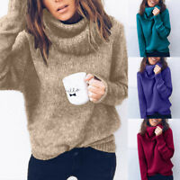 Women Fashion Thick Warm Turtleneck Knitted Sweater Jumper Pullover Top Blouse