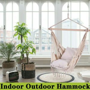 Hanging Rope Hammock Chair Swing Seat Indoor or Outdoor-2 Seat Cushions