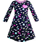 Sunny Fashion Girls Dress Cartoon Hands Heart Dog Printed Casual Size 3-12