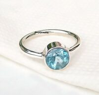 Blue Topaz Stone Ring Silver Ring Solid 925 Sterling Silver Band Ring Size sr125