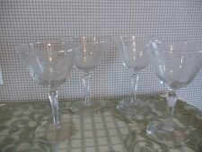 "Crystal CHAMPAGNE Goblets with Frosted Etched Flowers/Vines 6""  MINT ~ Set 4"