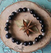 Handmade Wicca celtic beads bracelet pentantgram black onyx