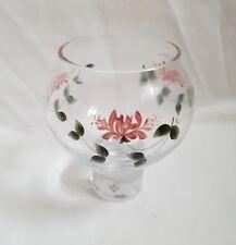 SALE❀ڿڰۣ❀ SWEDISH GLASS CRYSTAL Hand Painted HONEYSUCKLE TEA LIGHT Candle HOLDER
