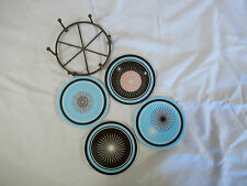 Retro Coasters  ~ Set of 4 with wire metal Holder ~ Cermanic face and Cork Back