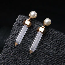 N089 Atlas Drop Earrings Clear Rock Crystal Dangle Stud Pearl Pretty + Petite