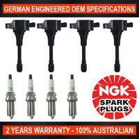 4x Genuine NGK Spark Plugs & 4x Ignition Coils for Nissan Murano Z50