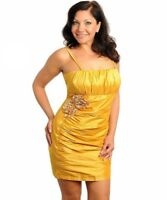 B17 New Yellow Womens Size 16/18 Summer Beach Office Work Party Spaghetti Dress