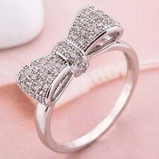 Women Fashion Silver White Sapphire Bow Ring Wedding Engagement Jewelry Gift Sz6