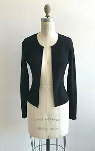Chanel Cardigan Black Fine Rib Knit Open Front Size 36 03A Wool True Original